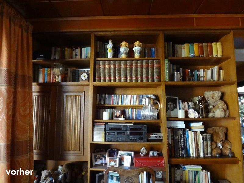Wohnzimmer Raumtrenn-Regal links vor Umgestaltung in dunklem Holz