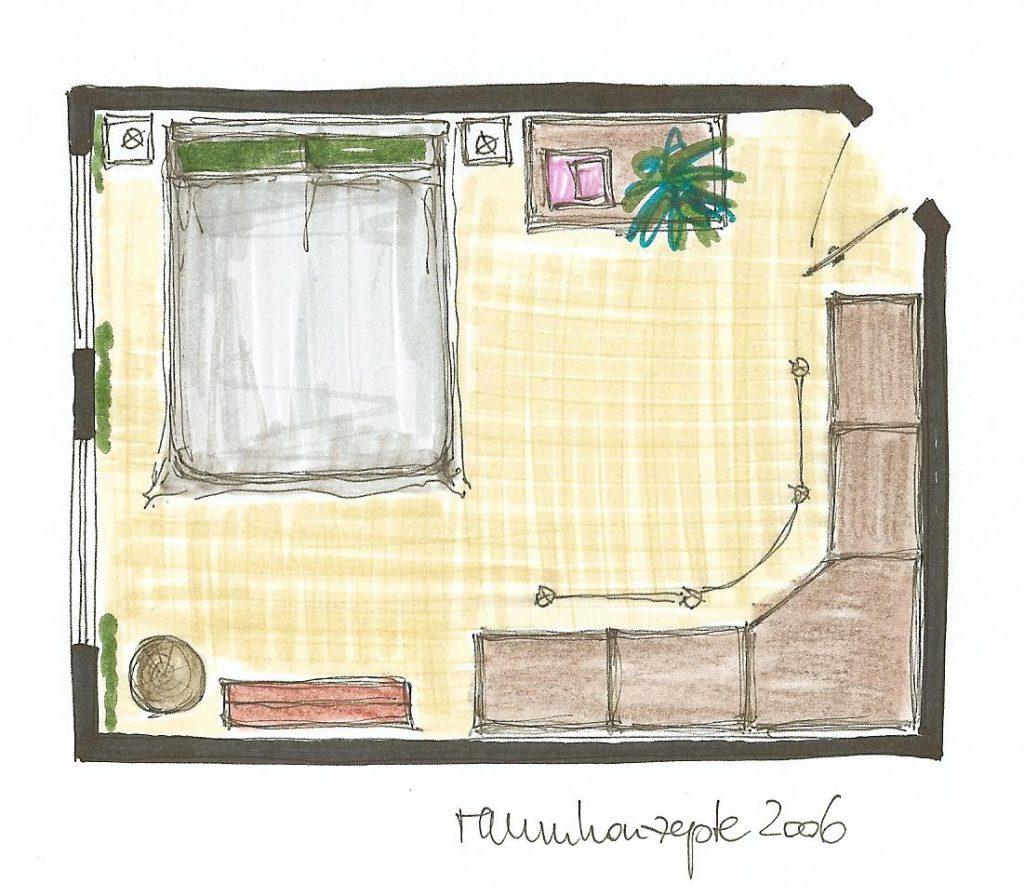 Schlafzimmer-Einrichtung Grundriss-Skizze mit Umgestaltungs-Vorschlaegen