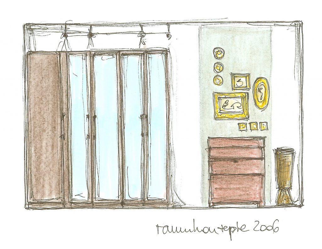 Schlafzimmer-Einrichtung Wand-Ansichts-Skizze mit Umgestaltungs-Vorschlaegen