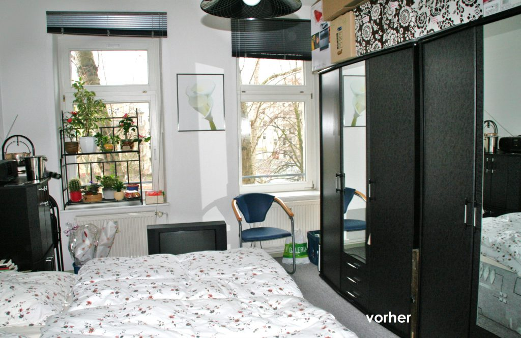 Schlafzimmer Raumaufteilung vor Umgestaltung Bett links Schrank rechts