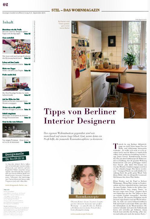 Bild Designertipps aus Sonderbeilage der Berliner Zeitung Nr. 2/2016