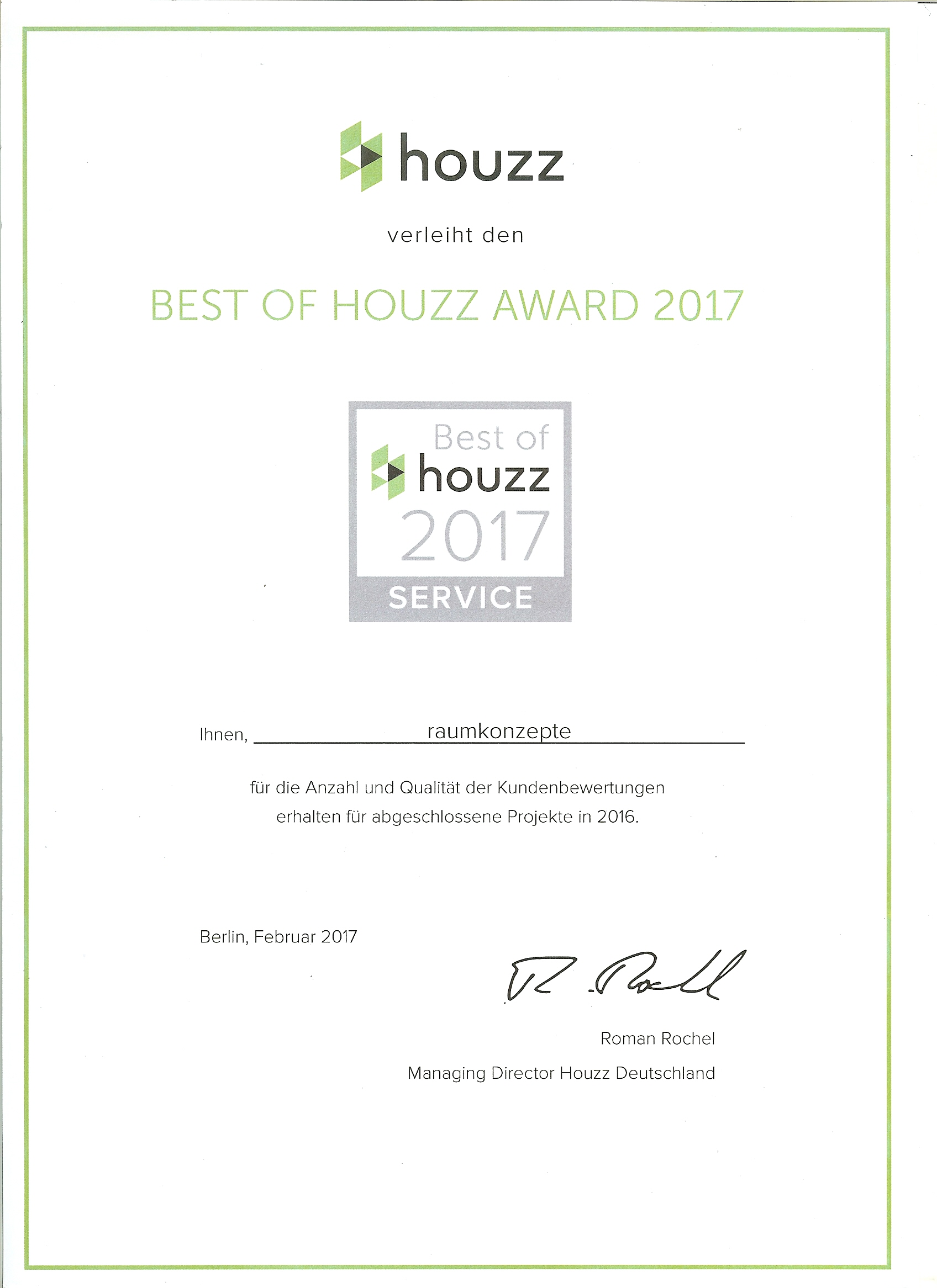 Best of Houzz Award 2017