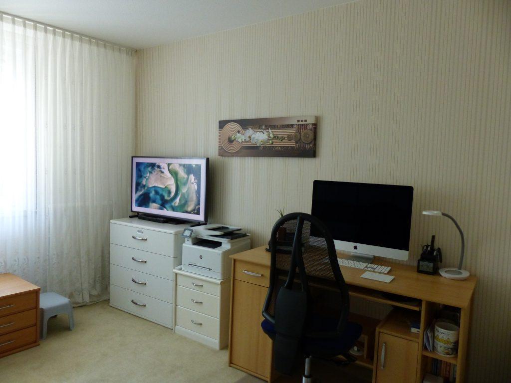 Arbeits-Schlafraum Blick 4 vorher mit TV, Drucker, Wandbild und Arbeitsplatz