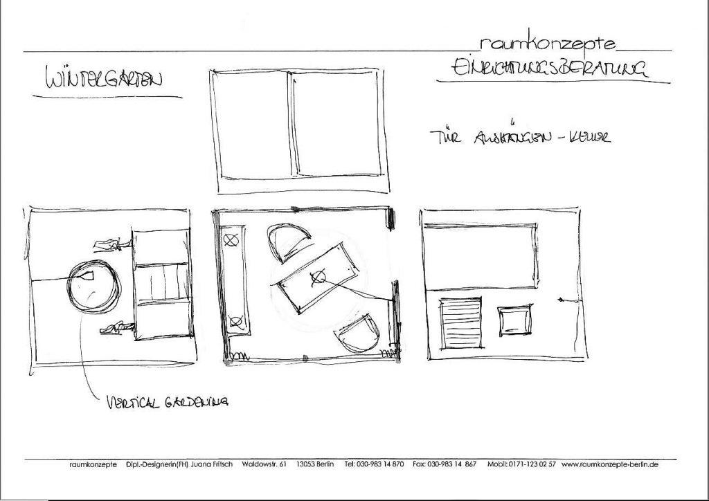 Arbeitsraum Beratungsskizze mit Tisch, Stuhl, Lampe, Sideboard und Wandbild