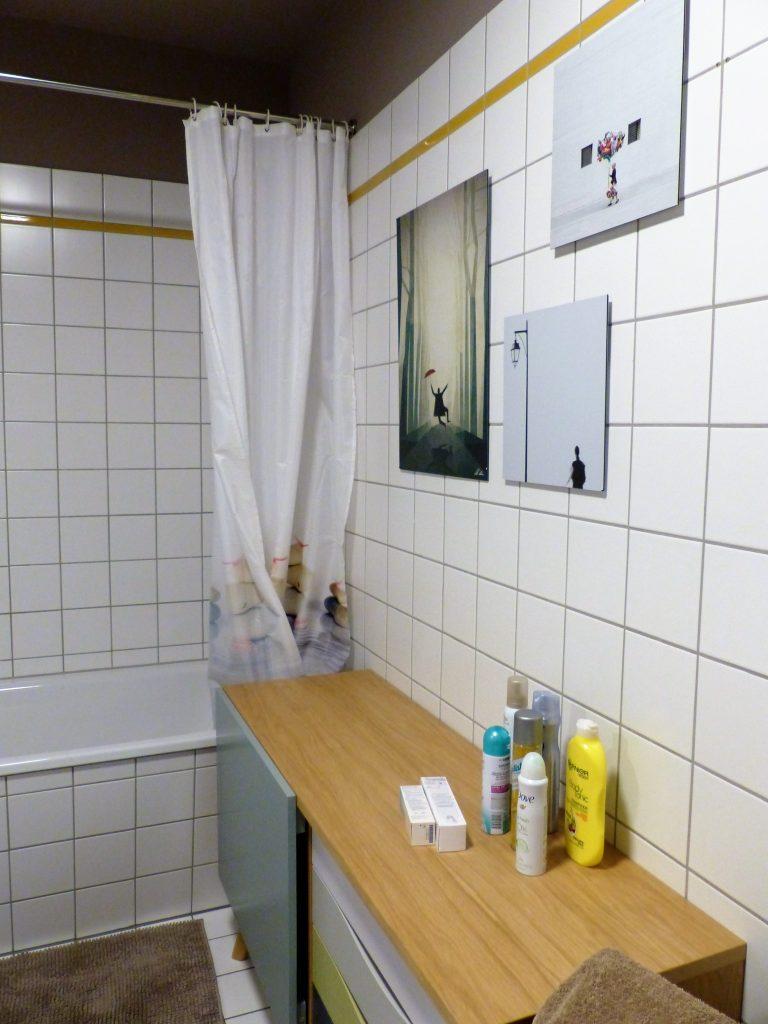 Bad Blick 16 nachher mit Duschvorhang, weissem Sideboard und Wandbildern