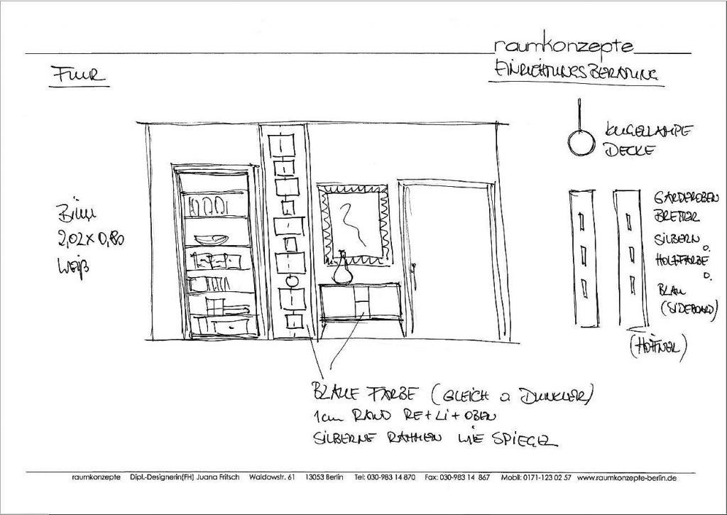 Flur Beratungsskizze mit Buecherregal in Tuer, blauem Wandteil, Sideboard, Spiegel, Kugellampe und Gardinenbretter