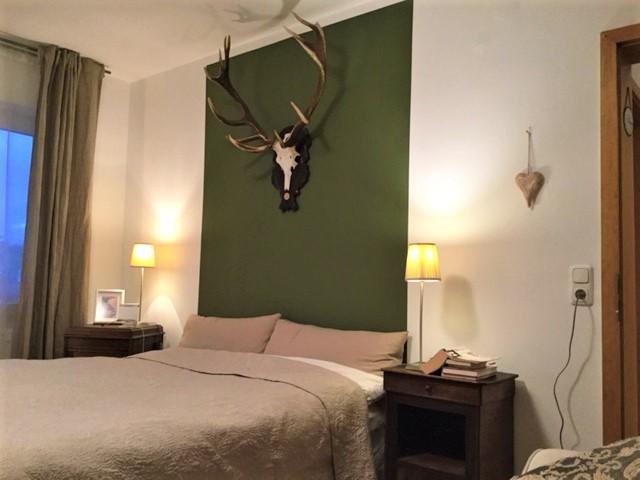 Grünes Schlafzimmer Blick 1 nachher mit grün abgesetzter Wand und Geweih über Bett, 2 Nachttische mit Nachttischlampen