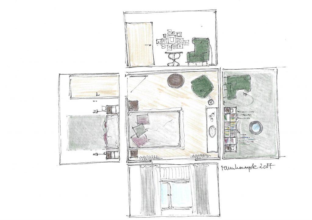 Grünes Schlafzimmer Beratungsskizze mit Wandabwicklung und Vorschlag zu Möbelierung und Wandgestaltung