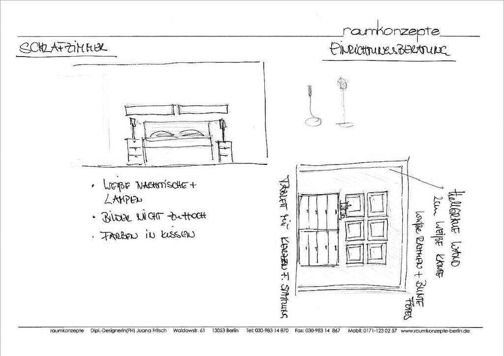 Schlafzimmer Beratungsskizze mit Bett, Nachttischen mit Lampen, Schubladenelement und Wandbildern,