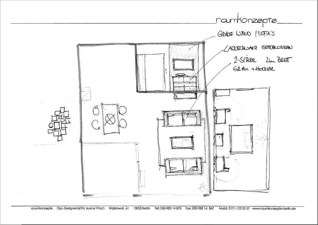 Wohnbereich Beratungsskizze mit Zweisitzer, Couchtisch, Teppich, Wandbild und TV-Sideboard