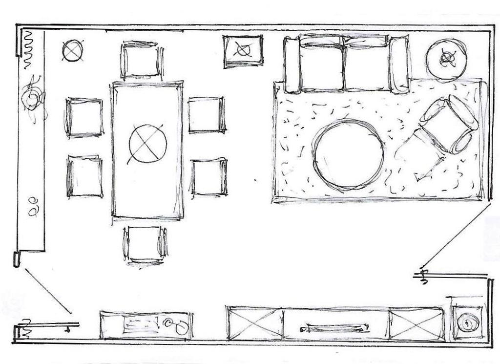 Internet-Wohnzimmer Beratungsskzze Grundriss mit Vorschlag zur Möblierung