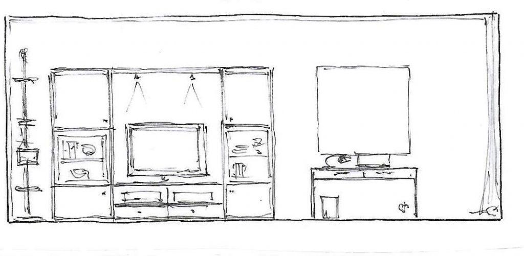 Internet-Wohnzimmer Beratungsskizze mit Wandabwicklung links und Vorschlag zu Möblierung und Wandgestaltung