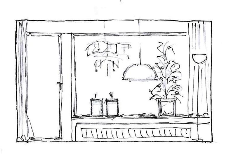 Internet-Wohnzimmer Beratungsskizze mit Wandabwicklung Fensterseite und Vorschlag zur Fenstergestaltung und Dekoration