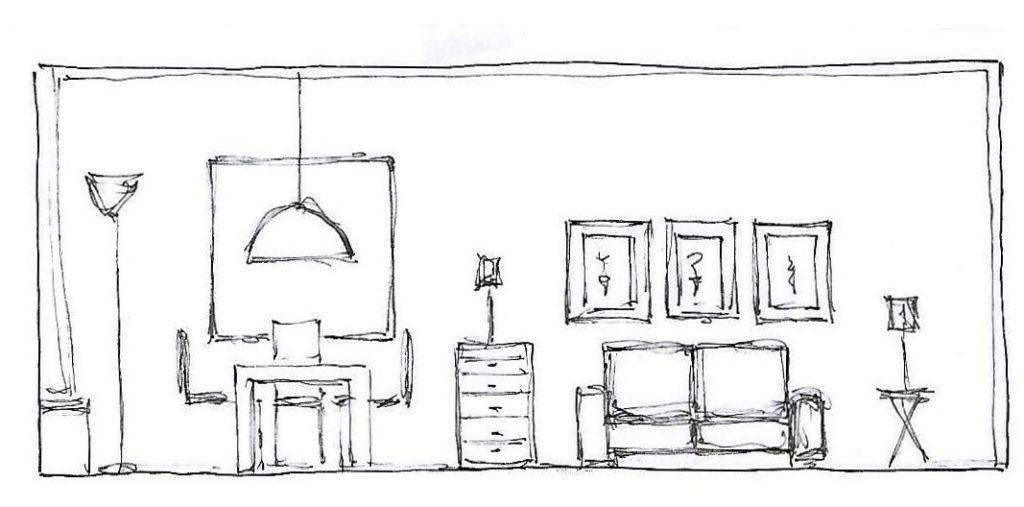 Internet-Wohnzimmer Beratungsskizze mit Wandabwicklung rechts und Vorschlag zu Möblierung und Wandgestaltung