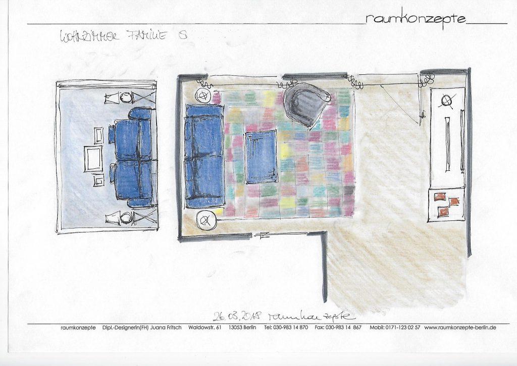 angezogenes Wohnzimmer Beratungsskizze mit Wandabwicklung links und Vorschlag zu Möblierung und Wandgestaltung