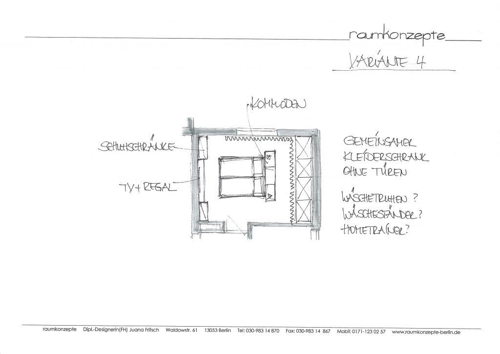 weisses Schlafzimmer Plan mit Bett in der Mitte, links ausgerichtet und Schränken hinter Vorhang rechts