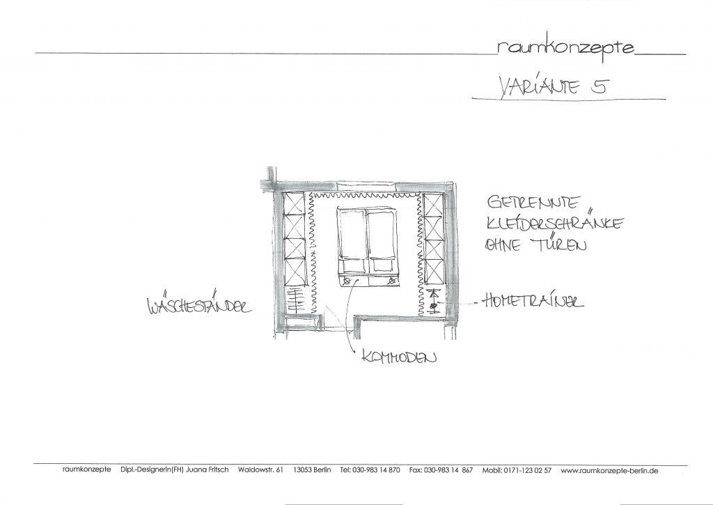 weisses Schlafzimmer Plan mit Bett in der Mitte, zum Fenster ausgerichtet und Schränken hinter Vorhängen rechts und links