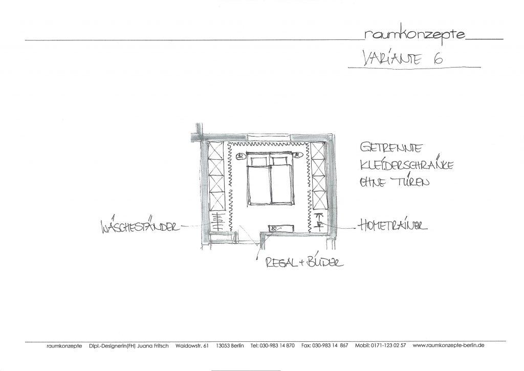 weisses Schlafzimmer Plan mit Bett in Mitte, zur Tür ausgerichtet, Schränke hinter Vorhängen rechts und links